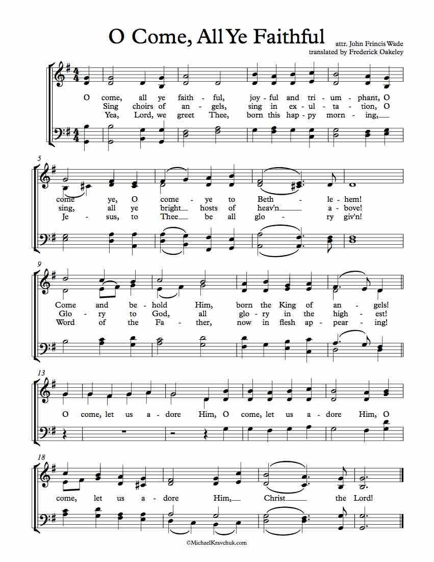 Free Choir Sheet Music O Come All Ye Faithful Free Sheet Music