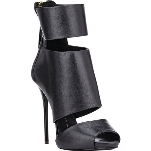 Giuseppe Zanotti Leather Cutout Ankle Boots (€490) ❤ liked on Polyvore featuring shoes, boots, ankle booties, ankle boots, leather boots, peep-toe booties, peep toe bootie, peep toe booties and cut out booties