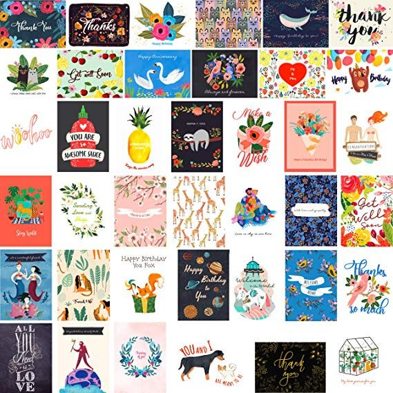 fresh  lucky 40 greeting cards stationery assortment
