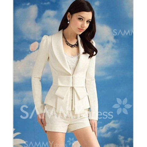$13.58 Elegant and Slim Bowknot White Long Sleeves Cotton Blend Fabric Coat For Women