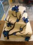 wedding cake - love the blue orchids. cestsibonbakery