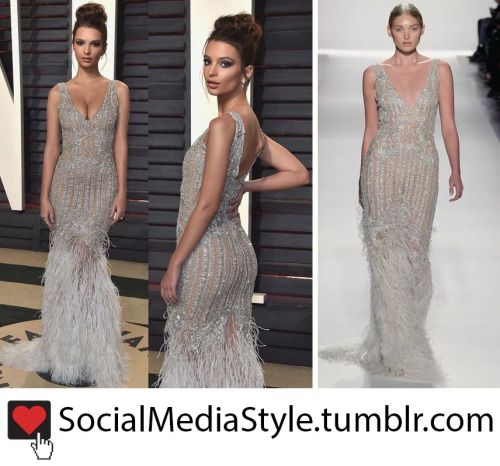 Buy Emily Ratajkowski's Bead and Feather Embellished Gown, here!