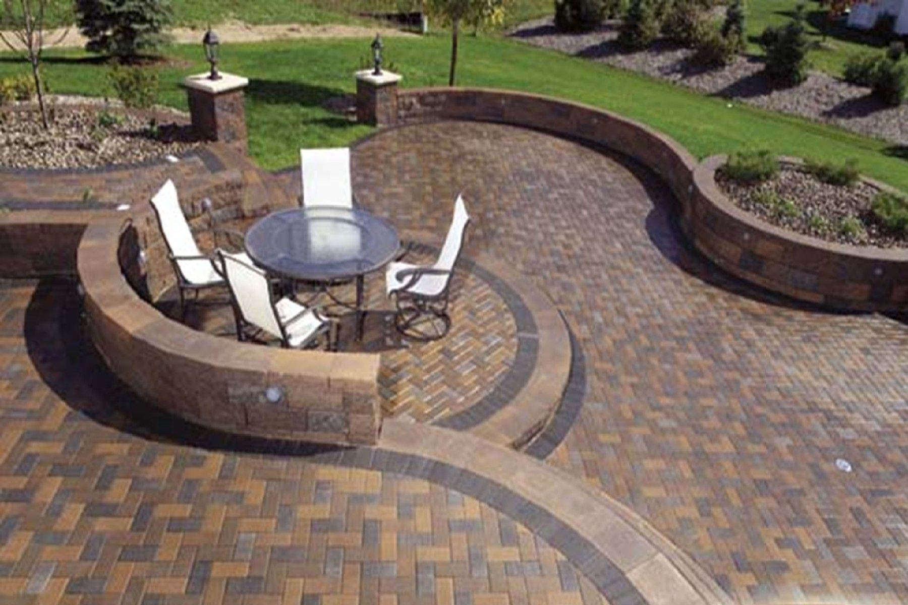 Mesmerizing Concrete Patio Designs Layouts Also Vintage Style Metal Outdoor  Chairs And Large Round Garden Table With Clear Glass Top Above Permeable ...
