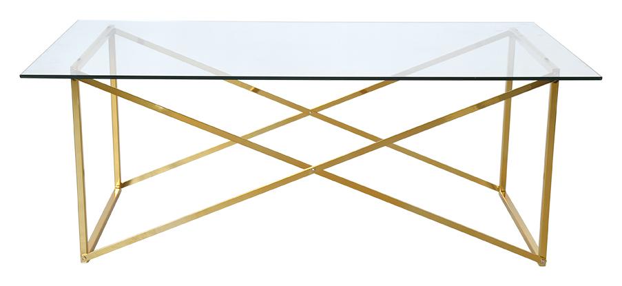 Klassiskt soffbord i mässingsfärgad metall och härdat glas Nätt underrede och skiva av glas