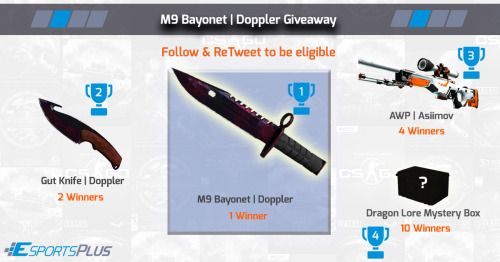 Win M9 Bayonet   Doppler gut knife dragon lore and    sweepstakes