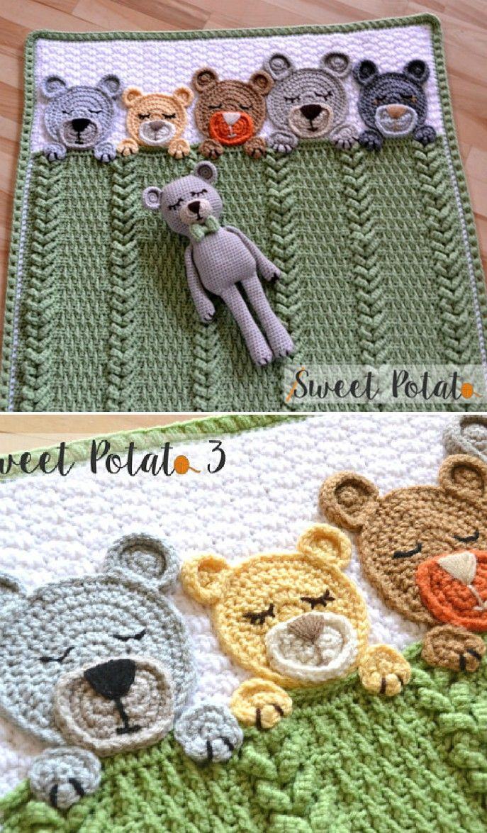 Sleep Tight Teddy Bear Blanket Pattern Crochet Pattern | Bear ...