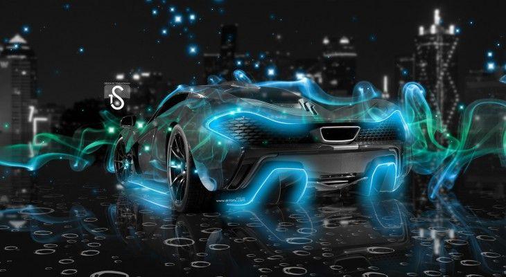 McLaren P1 Blue | McLaren P1 Blue Smoke Crystal Wallpaper