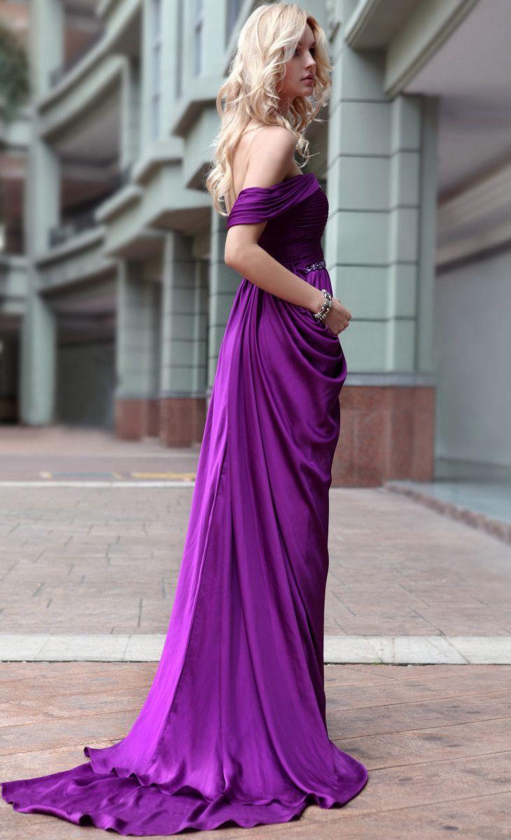 Elegant evening gowns in purple royal purple elegant evening dress
