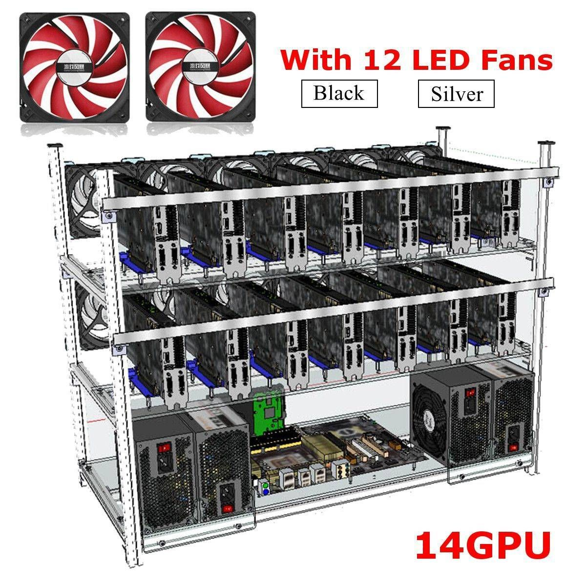 Open Air Mining Frame Rig 14 Gpu Stackable Case With 12 Led Fans For Eth Zcash Electrical Equipment Supplies From Tools Industrial Scientific On Banggood C Led Open Air Stackable