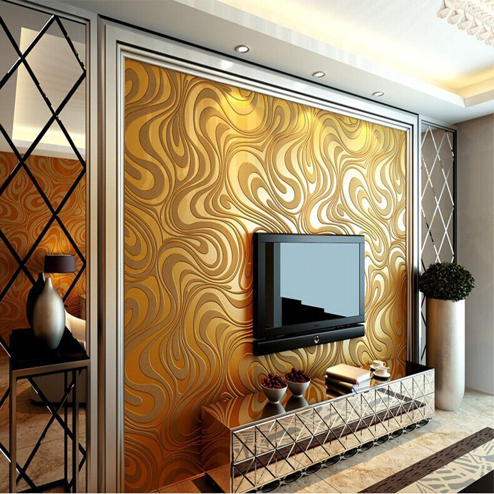 Q QIHANG 3D Abstract Curve Modern Luxury Flocking Striped Wallpaper Gold  0.7m*8.4m
