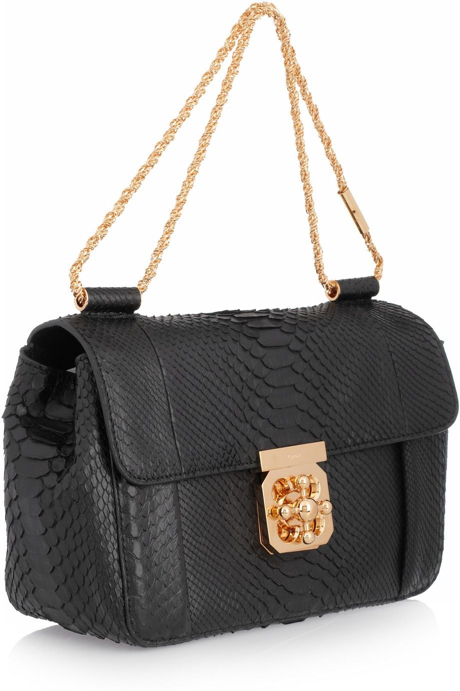 b4e41fe3f0426 Chloé Elsie python shoulder bag. Compact and chic, Chloé's black python ' Elsie'