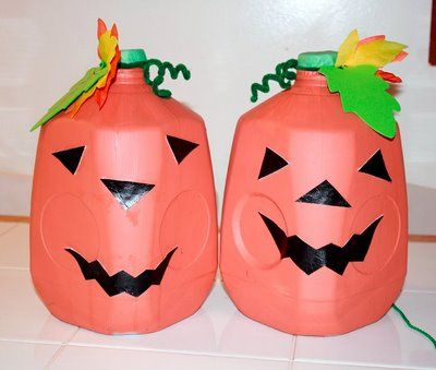 Preschool Crafts for Kids* Halloween Milk Jug Jack-O-Lantern Craft - halloween milk jug decorations