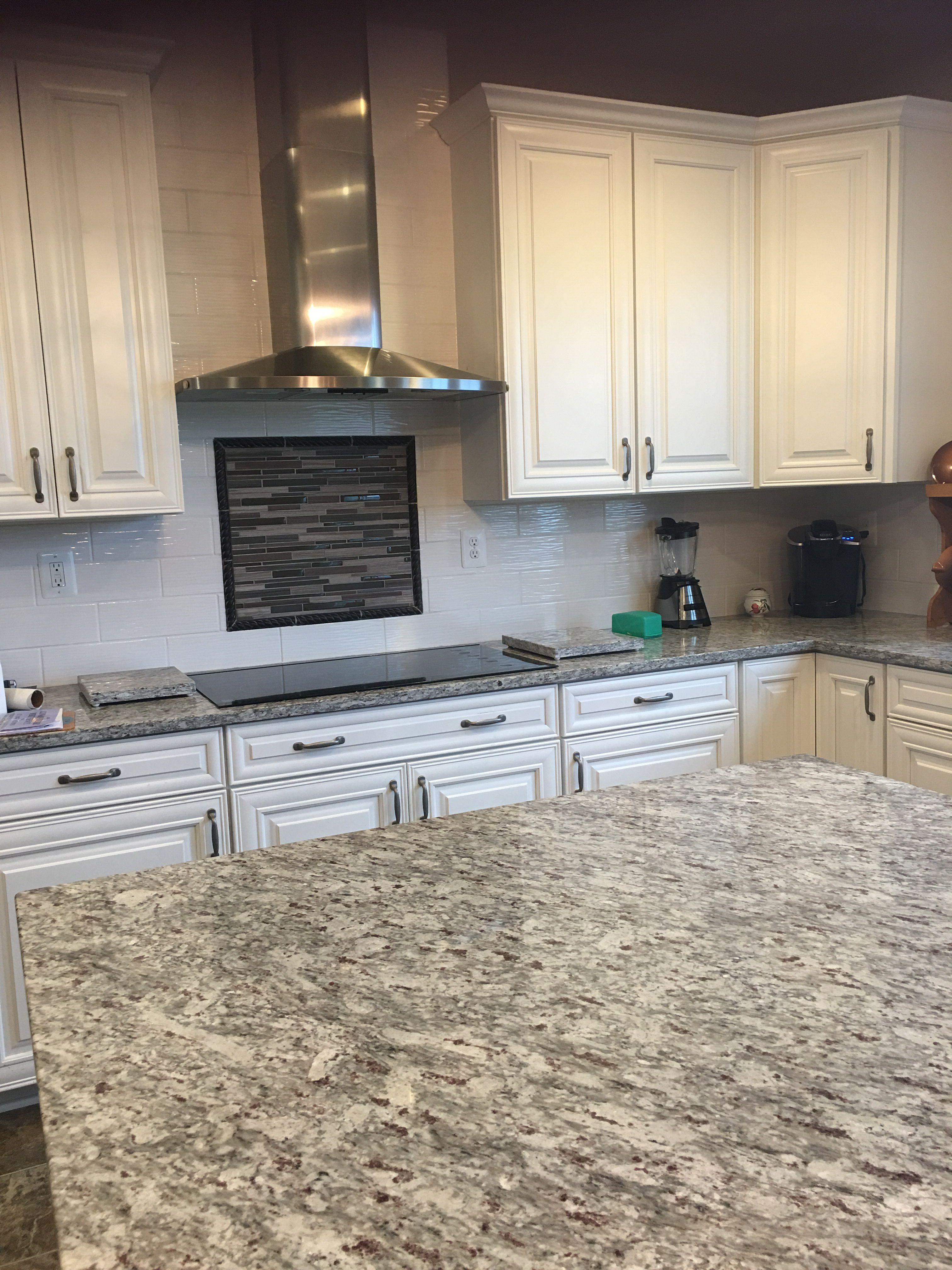 Moon White Granite Allen Roth Wavecrest White Tile Backsplash Kenmore Cooktop Kenmore Hoo White Tile Backsplash Ivory Shaker Kitchen Dream Kitchens Design
