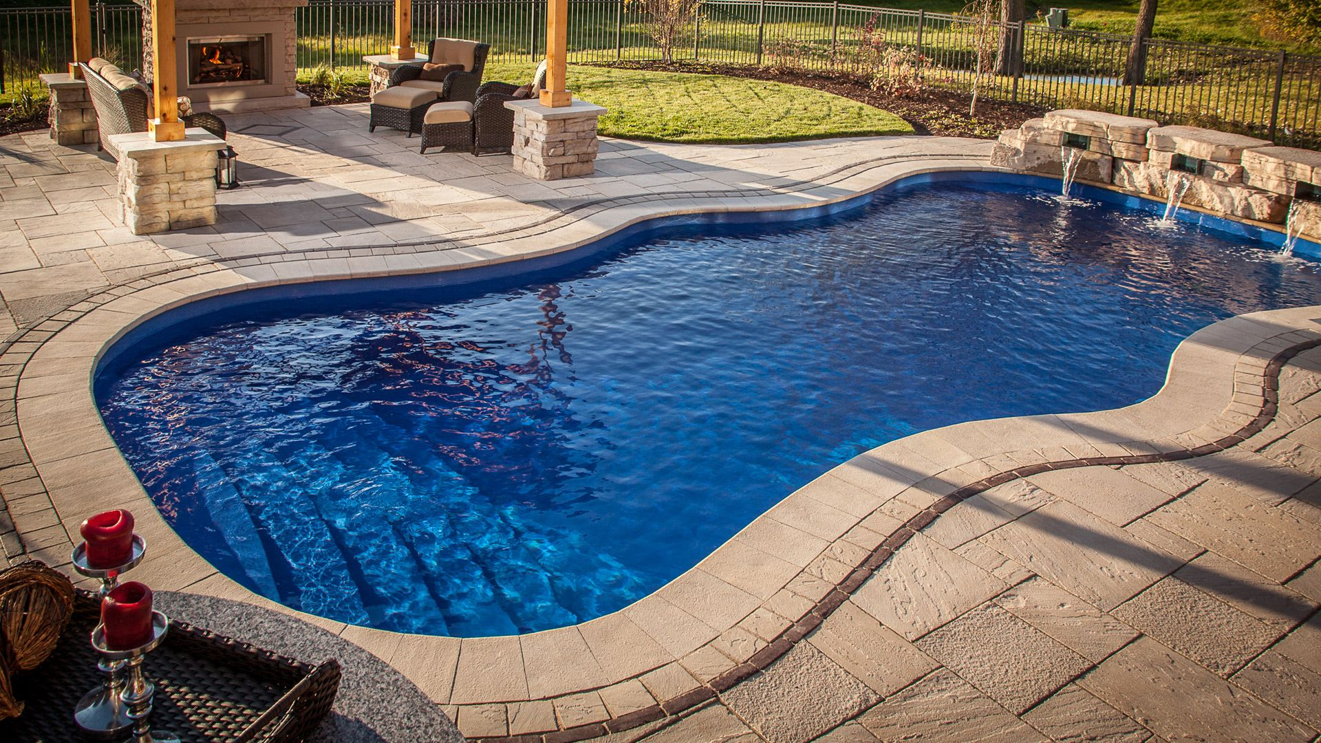 Swiming Pools Raised Inground Fiberglass Spa And Auto Cover With