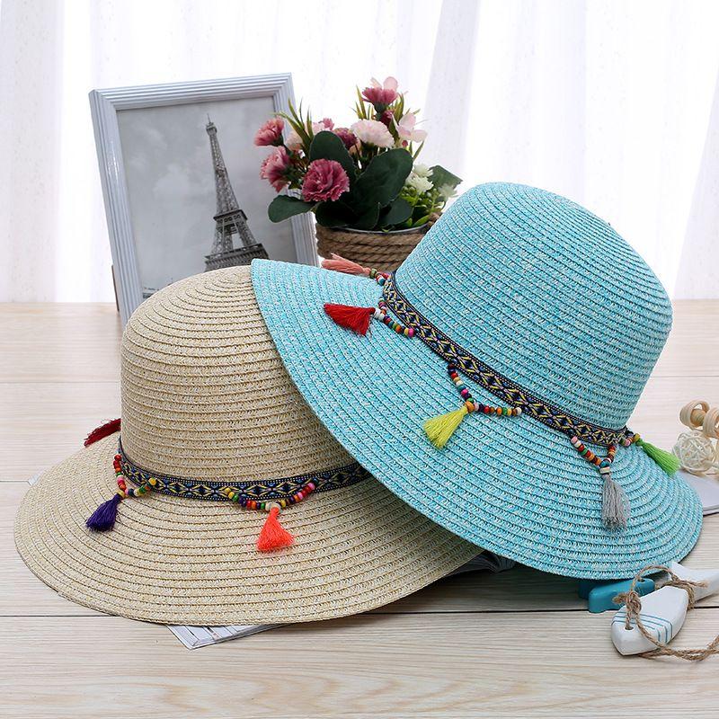 Summer Straw Hat Ladies Wide Brim Floppy Beach Hat Sun Cap Female Handmade Embroidery Flowers