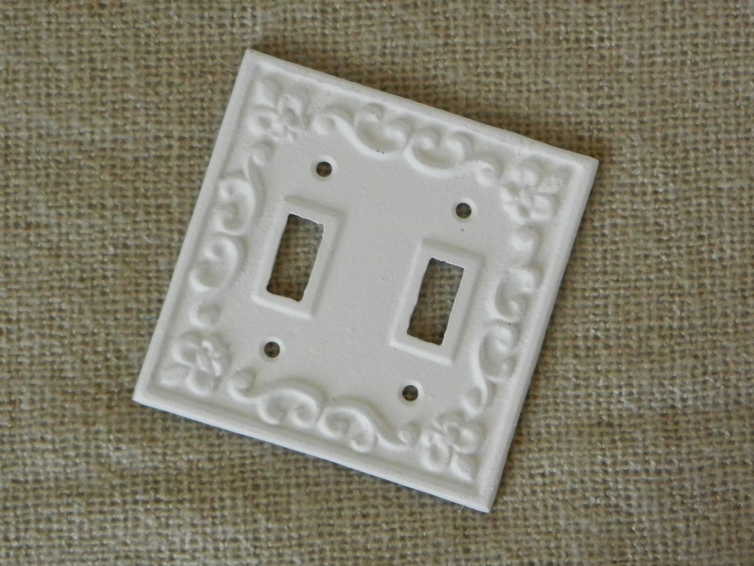White Cast Iron Light Switch Cover Double By Juxtapositionsc, $11.00