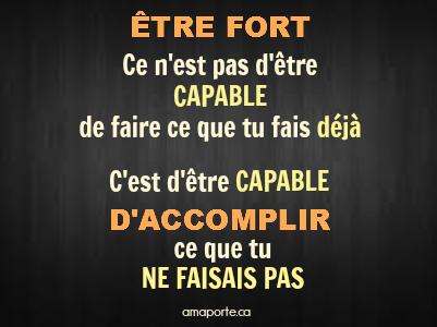 Ne pense à pas à ce que tu ne peux pas faire, mais ce que tu pourras faire. Elle est là ta force. #amaporte