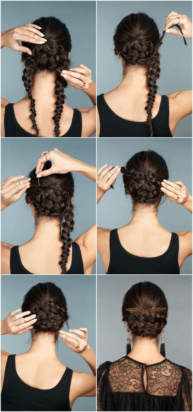 Geflochtene Hochsteckfrisuren Anleitung Selber Machen Instruction Hairstyle Hair Frisur Hochgesteckt Hochsteckfrisur Festliche Hochsteckfrisuren