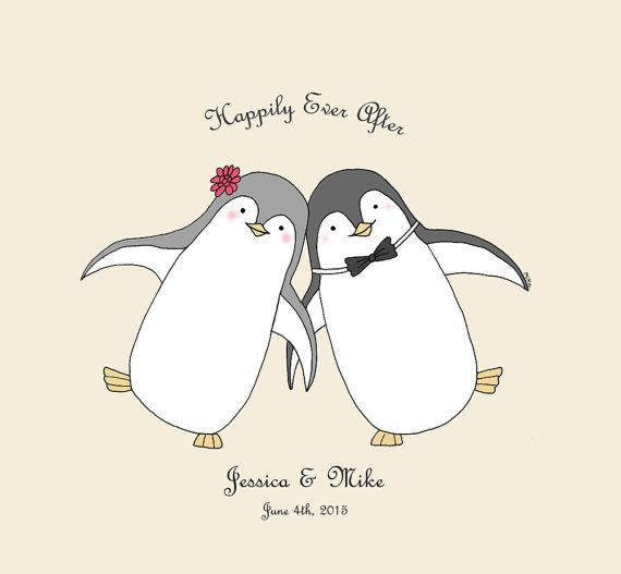 husband couple with names//Personalised Romantic Valentines Day poster//You are my penguin//US Letter Size Penguin Love Poster//Gift for wife