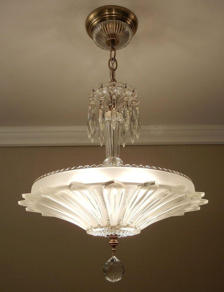 Vintage SUNFLOWER Chandelier Art Deco Antique Glass Ceiling Light Fixture-MINT!