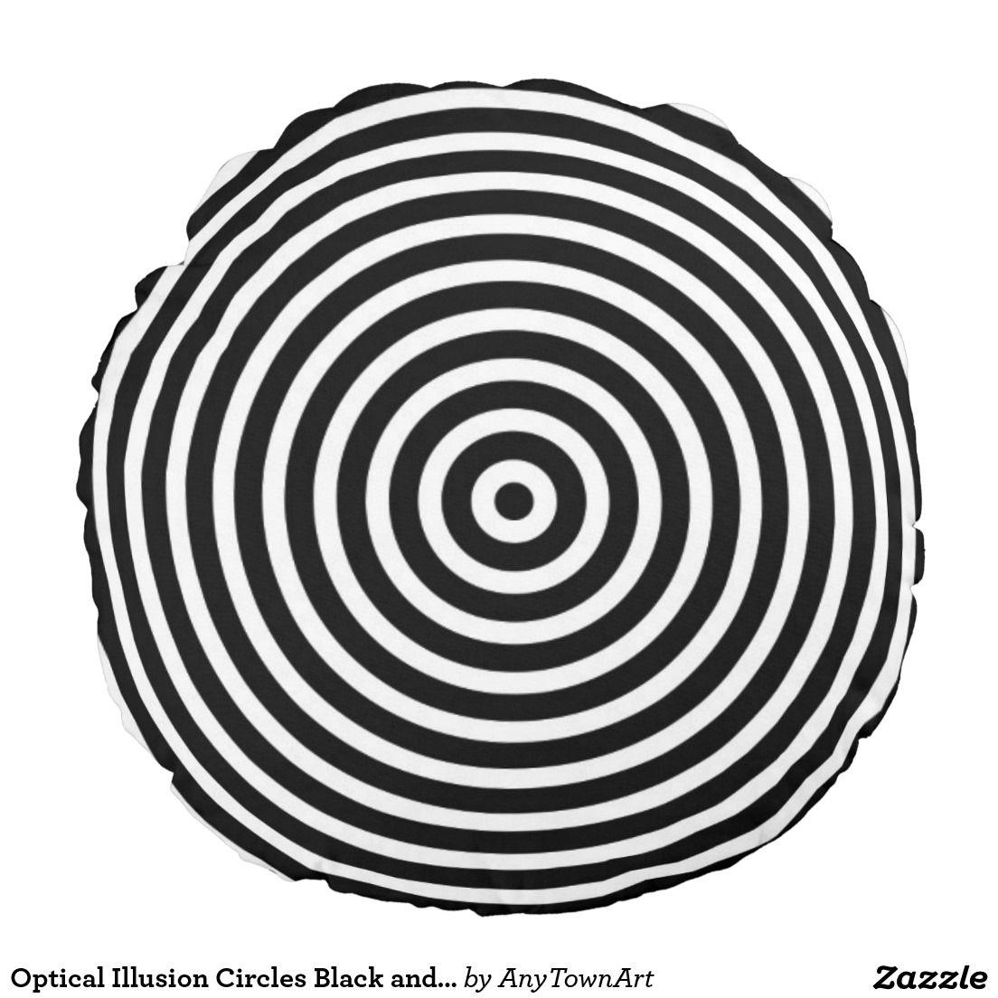 Optical Illusion Circles Black And White Round Pillow Zazzle Com Black And White Illusions Optical Illusions Black And White Design