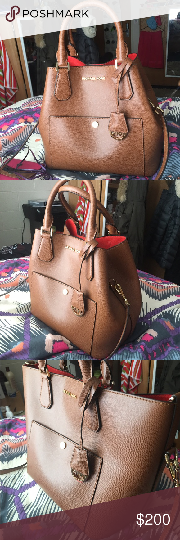 Michael Kors Medium Tote Michael Kors Saffiano Leather Medium Tote Bag. The inside is bright orange and the outside is brown. Is from the Summer 2016 collection. Michael Kors Bags Totes
