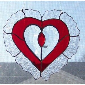 ~ Red & Clear Beveled Stained Glass Heart Suncatcher w/ Navette Shaped Jewel ~