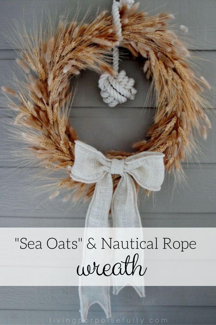 """""""Sea Oats"""" & Nautical Rope Wreath. Perfect for a coastal fall!"""