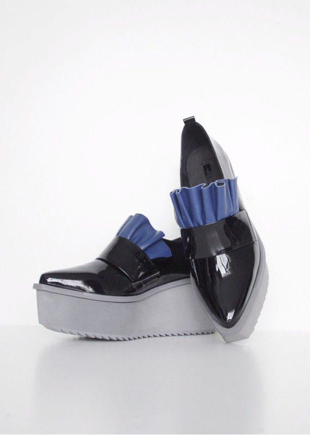 Jamie Wei Huang  Leather Blue Ruffle Oxford Shoes