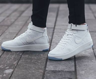 buy online 76250 55e91 Nike Air Force One AF1 Ultra Flyknit Mid Triple White Casual Shoes