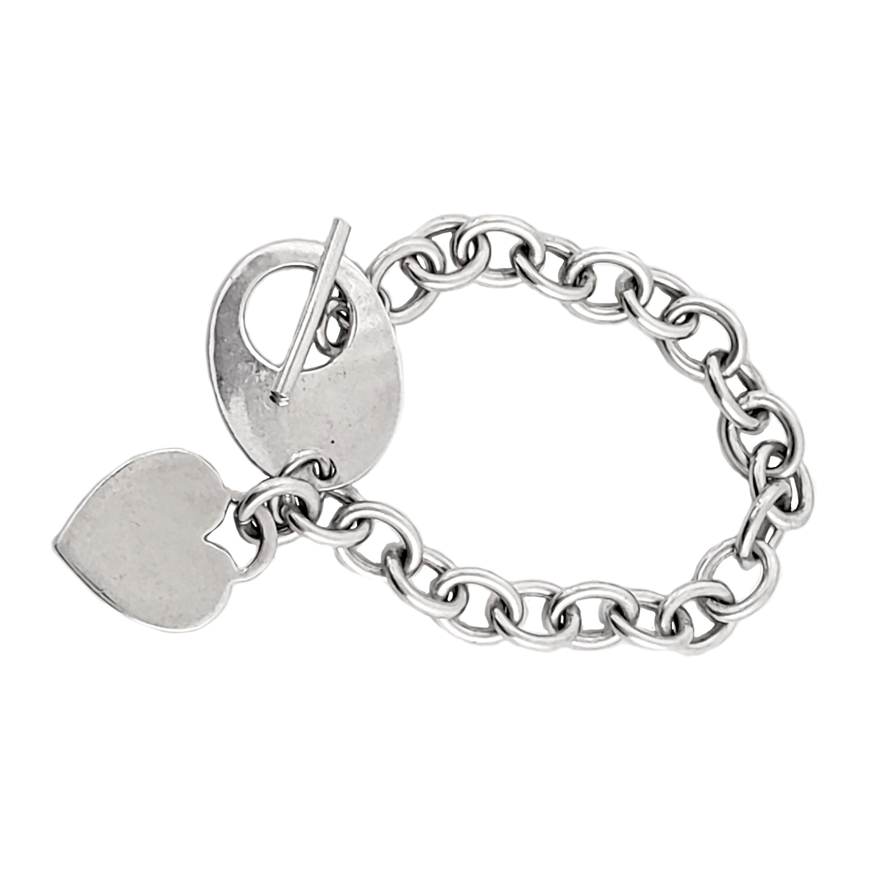Sterling Silver 7 4.5mm Charm Bracelet With Attached Hand Holding Small Heart Charm