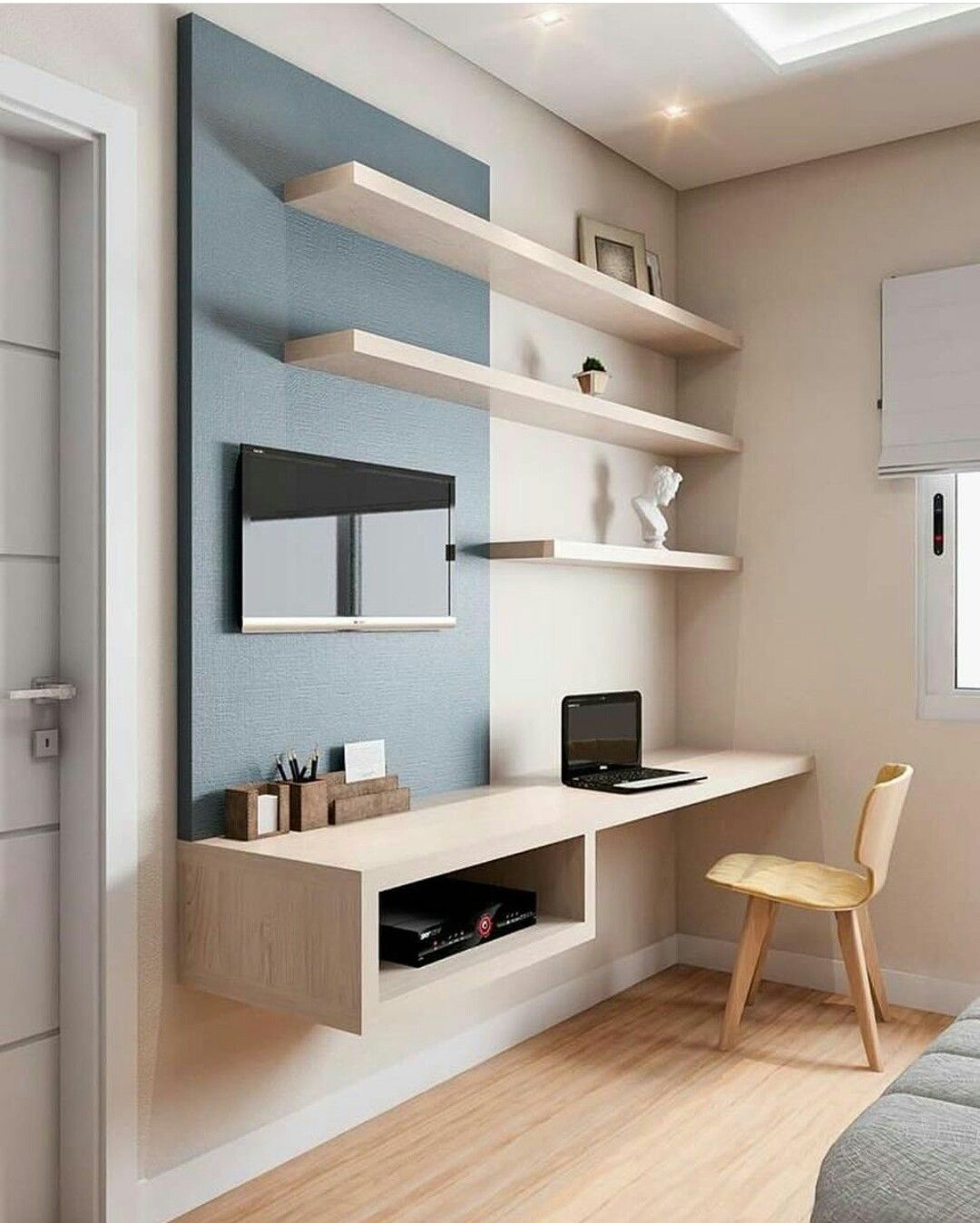 Office Bedroom Simple And Organized Wall Shelves And Wall Desk