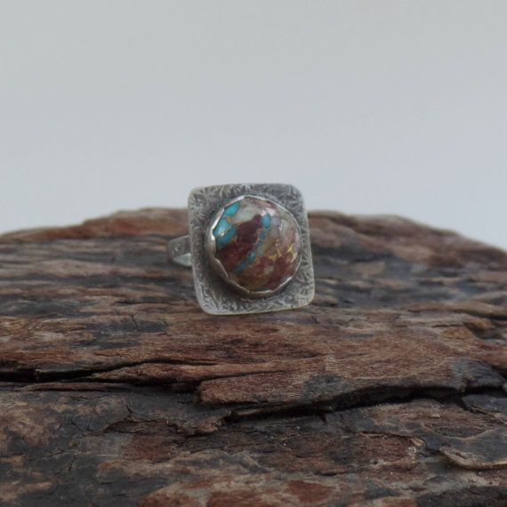 Turquoise/Spiny Oyster/Bronze & sterling ring by RustyWing on Etsy