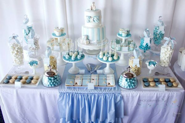 Cake Table Ideas For Christening : Blue Christening First Birthday Party Planning Ideas ...