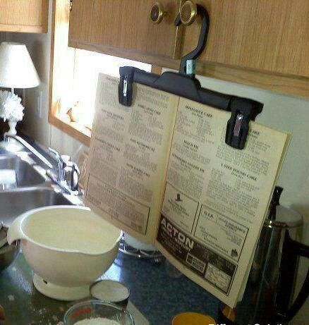 Recipe book hanger. What a great idea!