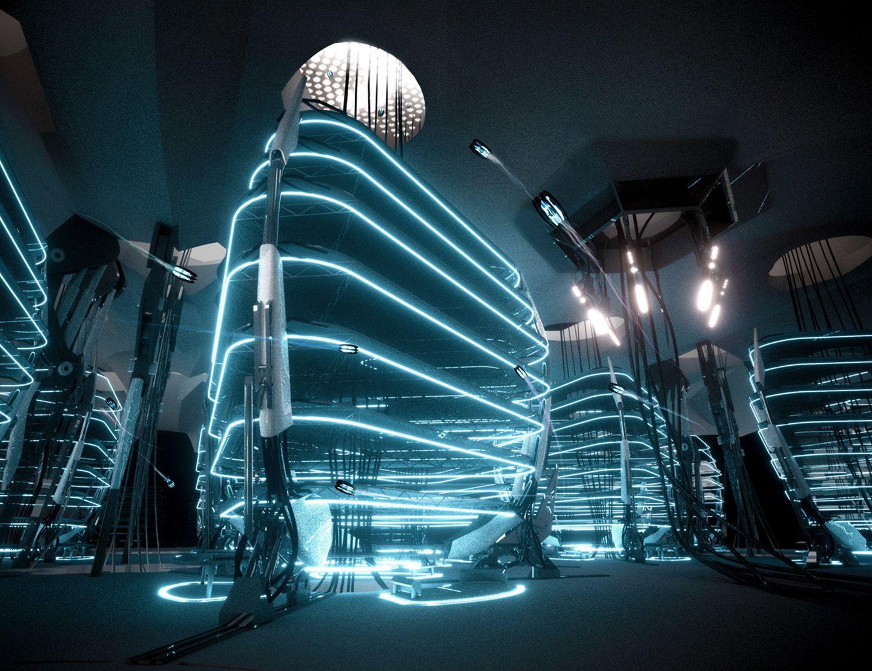 Futuristic architecture tron neon future production for Cyberpunk interior design