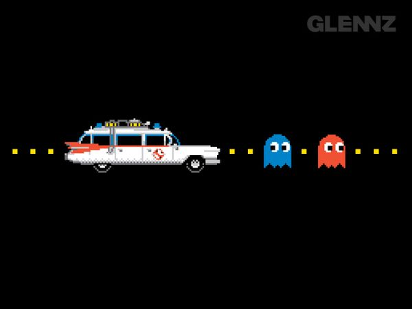 Ghostbusters bustin' Pac-Man's ghosts
