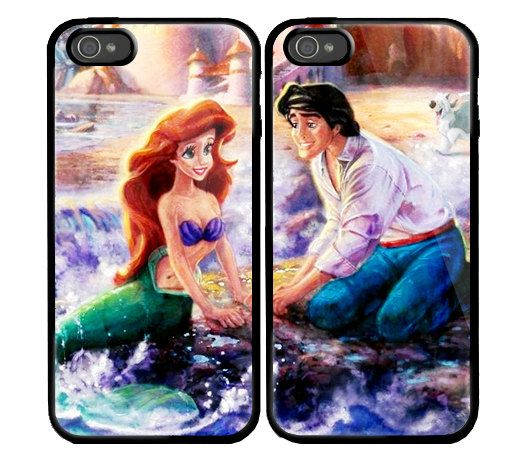 Ariel The Little Mermaid Custom couple Case for iPhone 4 and iPhone 5 case.. $35.69, via Etsy.