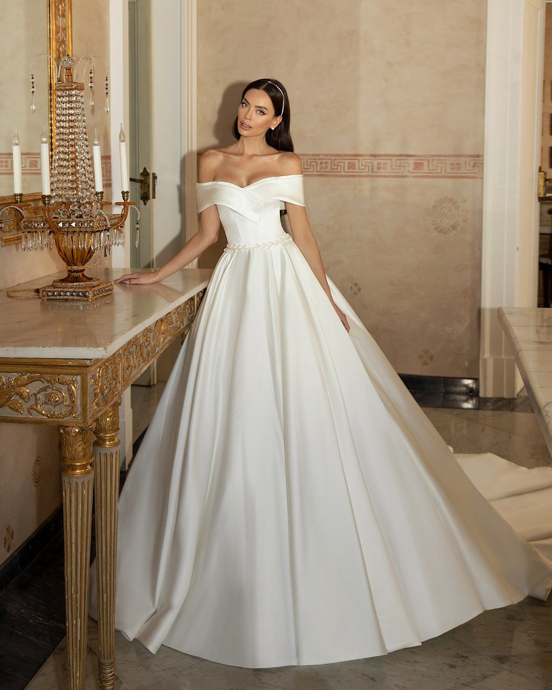 36 Off The Shoulder Wedding Dresses To See In 2021 Ball Gown Wedding Dress Ball Gowns Wedding Wedding Dress Brands [ 1350 x 1080 Pixel ]