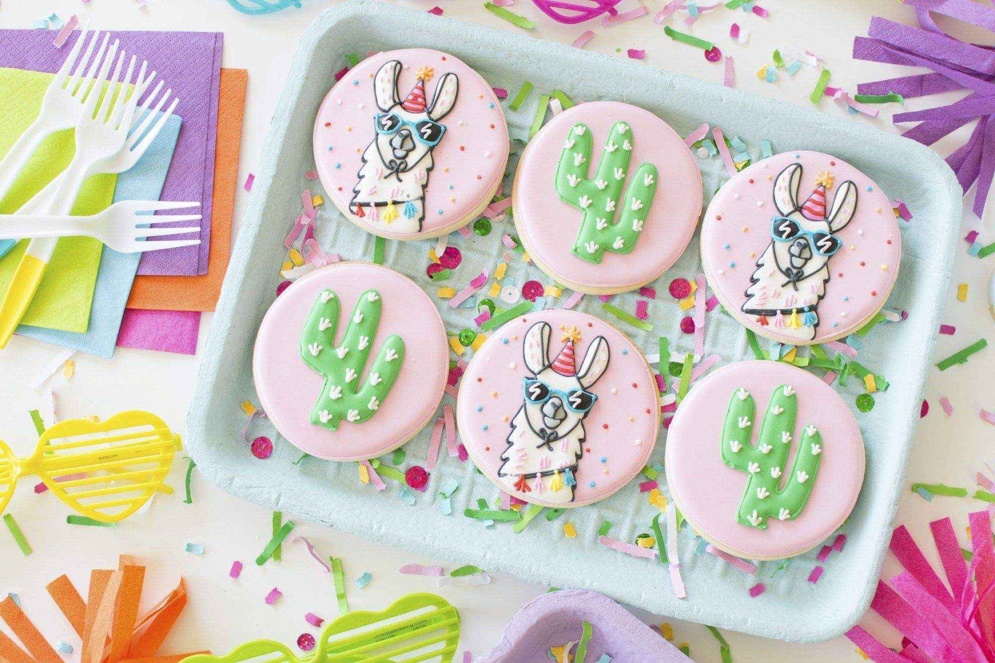 How To Throw A Colorful Llama Party Decorated Cookies Inspired By Target Collection