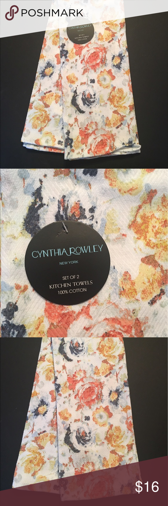 Cynthia Rowley Kitchen Towels Country Flowers NWT Cynthia Rowley Kitchen  Towels Set Of 2 Rich Warm
