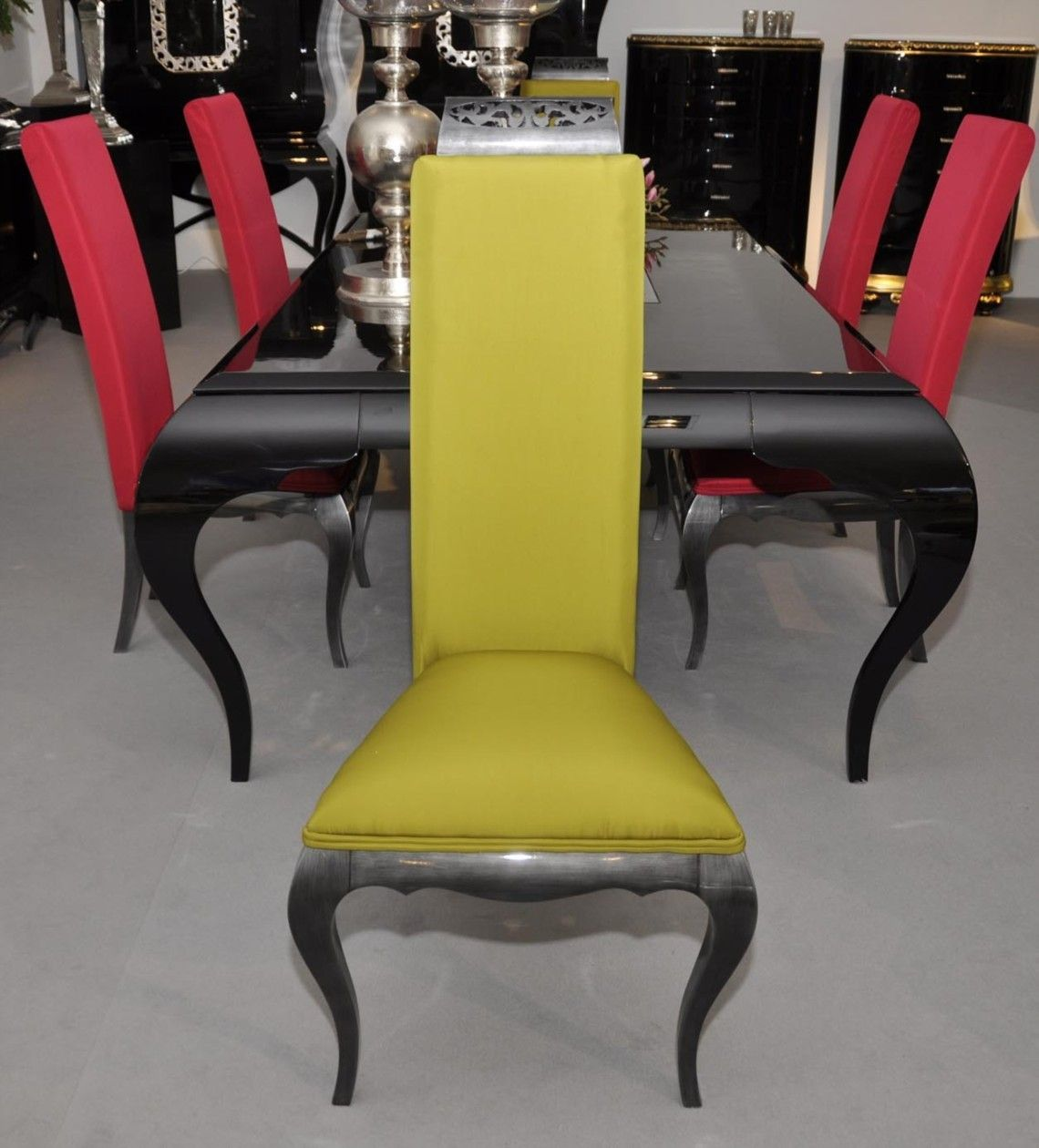 High back glossy lead and lime yellow fabric dining chair ...