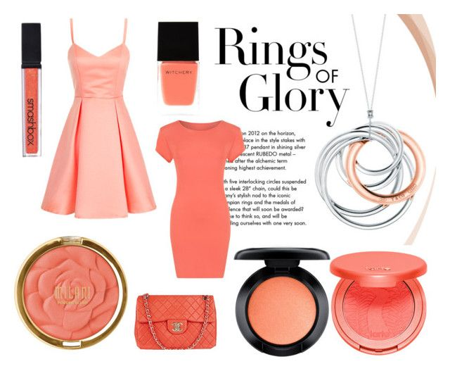 """Peach✨"" by rina-shmail on Polyvore featuring Tiffany & Co., Witchery, WearAll, Milani, Smashbox, MAC Cosmetics, tarte and Chanel"