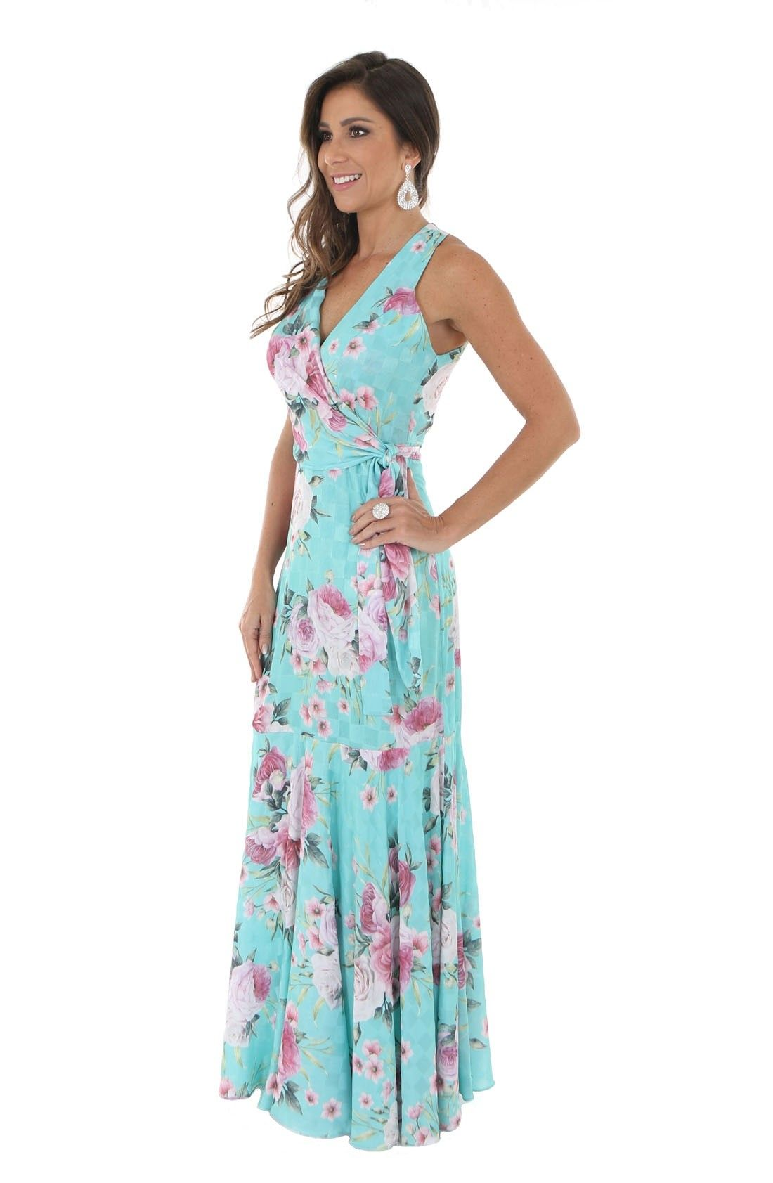 c615a1a259 Vestido de Festa Semi Sereia Estampado » Longo
