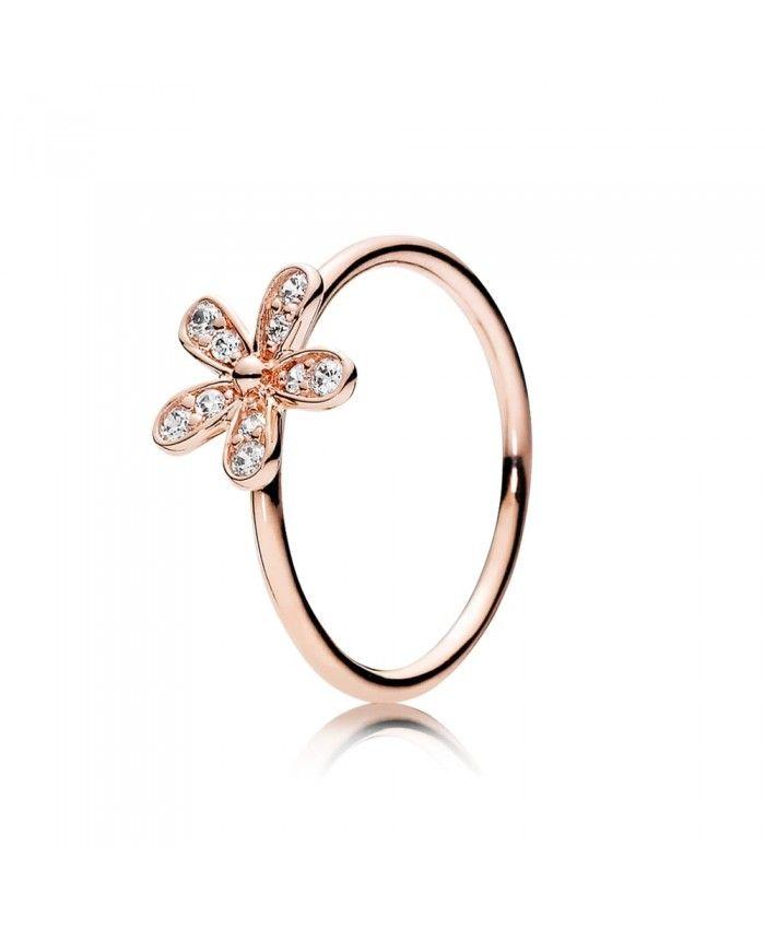 PANDORA Rose Gold Dazzling Daisy Ring 180932CZ pandora rose gold