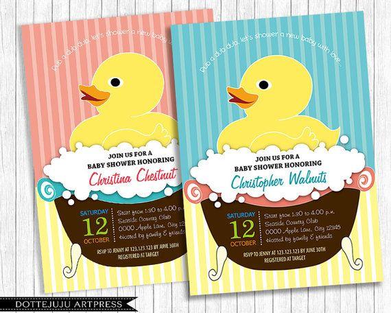 Baby Duck  Printable Baby Shower Invitation  DIY by DotteJuju