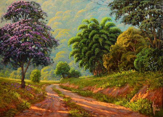 Quaresmeira Flower Tree Oil Painting Fine Art Nature Landscape Living Room Art Decorative Art Handma Landscape Landscape Art Landscape Paintings