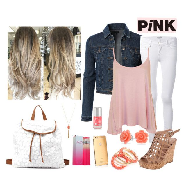 """White and pink (Simple)"" by mafermsucre ❤ liked on Polyvore featuring LE3NO, Frame Denim, WearAll, Charles by Charles David, Goldgenie, Ruby Rocks, Bling Jewelry, Aéropostale, Paris Hilton and Charlotte Russe"