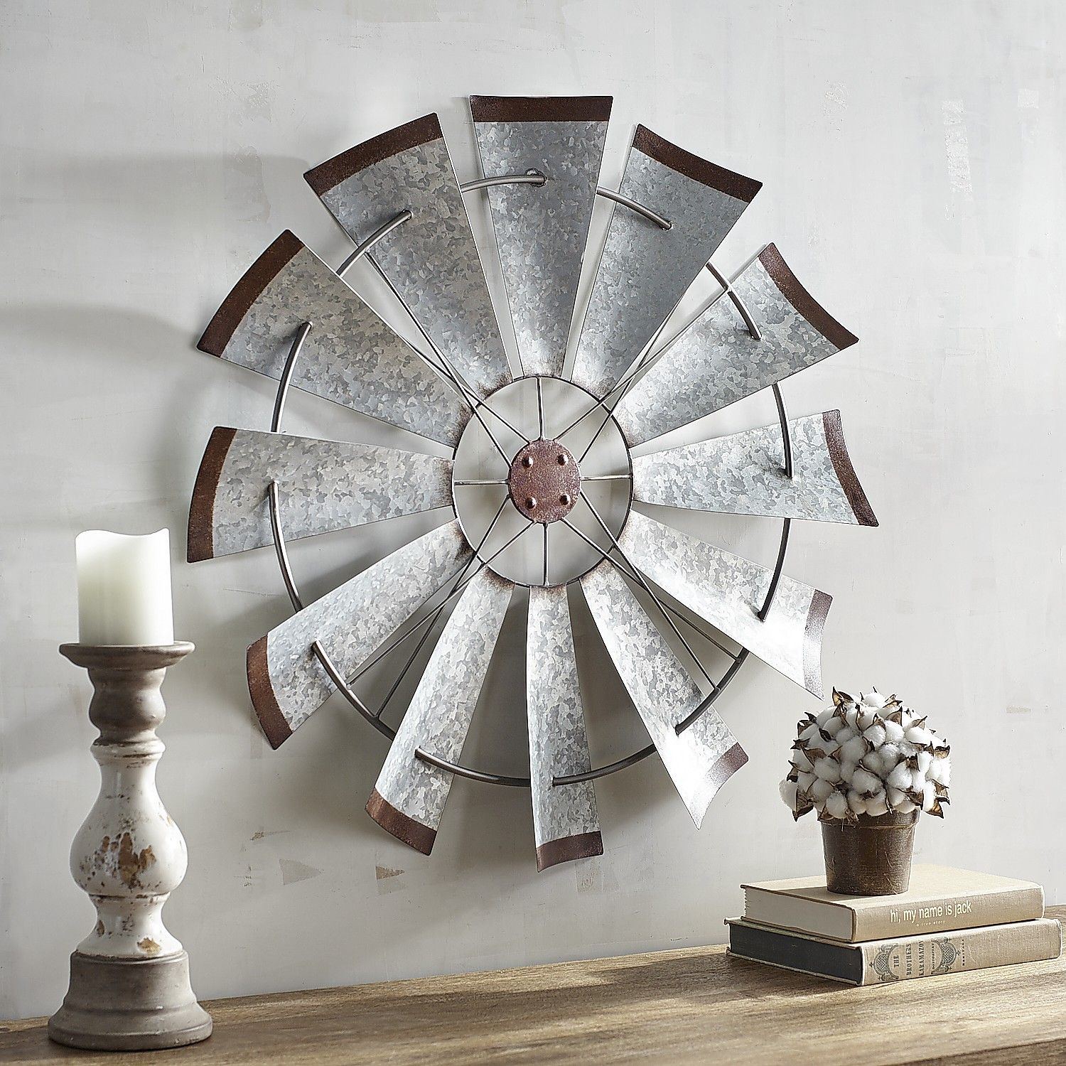 Galvanized Windmill Wall Decor Silver