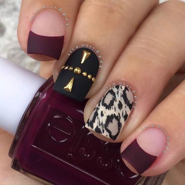 Leopard Print Accent Nail Black And Burgundy Matte Nails Read More Source Stayglamcom